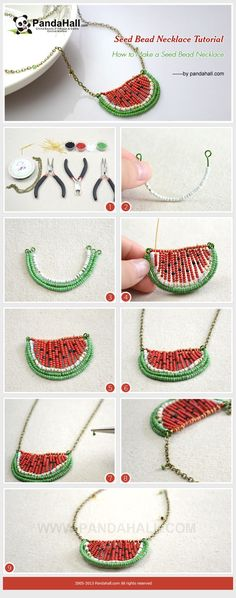 Seed Bead Necklace Tutorial - How to Make a Seed Bead Watermelon Necklace #diy