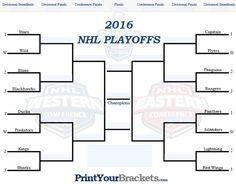 Fillable NHL Playoff Bracket - Editable 2016 NHL Bracket