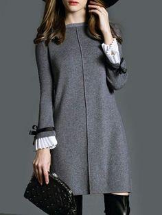 Mandarin Sleeve Fancy Shift Dress : Penny Smith's World Mode Outfits, Dress Outfits, Stylish Outfits, Hijab Fashion, Fashion Dresses, Dress Skirt, Dress Up, Gray Dress, Shift Dress Outfit