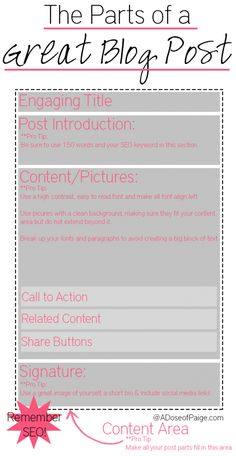 Blogging Tips   Content   The Parts of a Great Blog Post