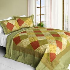 [Green Fields] Cotton 3PC Vermicelli-Quilted Striped Printed Quilt Set (Full/Queen Size)