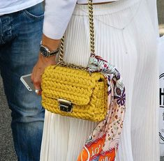 Yellow chain-link shoulder strap crochet structured shape bag   Square and compact design bag with long sliding chain shoulder strap Will look great with any summer outfit! *Can be decorated with embroidered secret wish on the lining, any time you open your bag you see a special