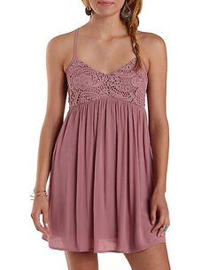 Strappy Crochet & Gauze Dress: Charlotte Russe #dress