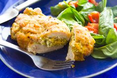 Broccoli and cheese stuffed chicken breast is a dinnertime classic. #broccoli #cheese #stuffedchicken