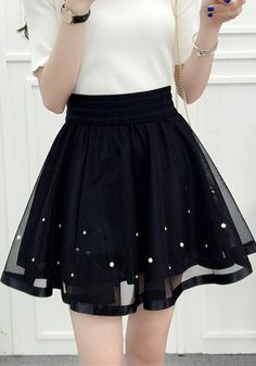 9f96b99f30 Black Mosaic Pearl Grenadine Pleated Tutu Sweet Cute Going out Skirt