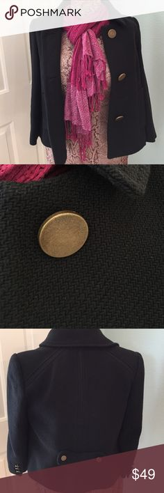 Edina Ronay London gorgeous jacket⚫️⚪️⚫️ Edina Ronay London, Sz 10, impeccably detained crop jacket/ blazer.  3 Big antiqued metal button closure, and 3 little antiqued metal buttons on each cuff, 2 flap pockets, small belt with 2 buttons in back. The weave on this coat is stunning, pictures don't do it justice. Very chic cotton inserts give this Beaty a modern twist. You will not be disappointed with this coat, I promise you that. 💯% cotton, 💯% acetate lining. 20in in length ⚫️ Edina…