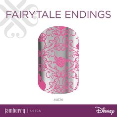 """Show off your romantic side with 'Fairytale Endings'! It's satin finish and intricate design is a beauty. NEW Disney collection by jamberry nail wraps! """"Fairytale endings"""" insprired by Princess aurora. Goes on sale tomorrow at 10am mst at jamaholicsanonymous.jamberry.com"""