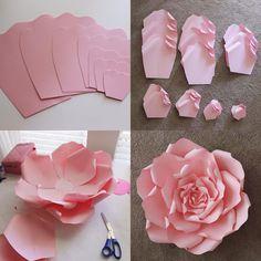 "245 Likes, 19 Comments - Darya (@annnevilledesign) on Instagram: ""Trace. Cut. Curl. Glue. Viola. #paperflower #paperflowers #diy #backdrop #handmade #paperrose #pink"""