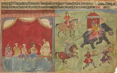 A double-sided illustration from a Nala-Damayanti series, Provincial Mughal, circa 1625