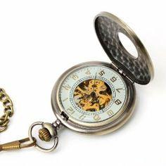 Yesurprise Antique Bronze Tone Roman Numeral Mechanical Pocket Clip Chain Pendant Watch Yesurprise. $27.06