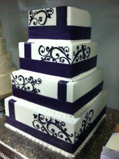Square scroll wedding cake