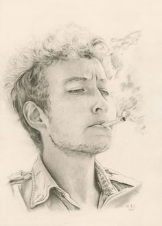 bob dylan pencil drawing by melissa pink