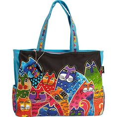 Whiskered Family Oversized Tote by Laurel Burch Discount Travel, Discount Sites, Discount Shopping, Best Travel Luggage, Samsonite Luggage, Fabric Handbags, Laurel Burch, Briefcase, Shoulder Strap