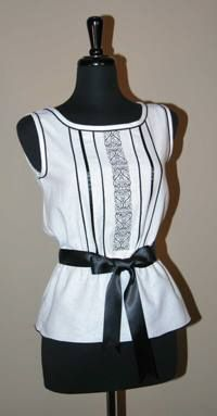 Creative use of a serger (overlocker) decorates a linen camisole