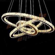 Led pendant light with 3 crystal rings in 3 sizes giving a distinct 123 rings galaxy crystal chandelier pendant led light ceiling lamp lighting aloadofball Image collections