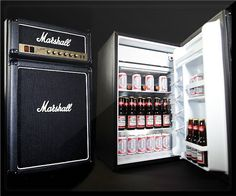 $ 399.99 The coolest icon in rock music just got cooler! The Marshall Amp Fridge is a replica of the legendary amplifier by Jim Marshall that combines the authentic look of the original with the utility of a small mini fridge. The result is a high quality product for both beer and rock & roll fans! #coolestkitchengadgets #amp
