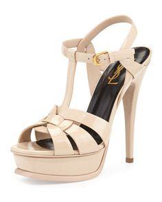 Tribute Patent Platform Sandal, Nude by Saint Laurent at Neiman Marcus.