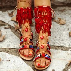 Gladiator Bohemian Chic Sandals ,Lace up Sandals / Summer Ethnic Sandals/Handmade Decorated Greek Leather Sandals
