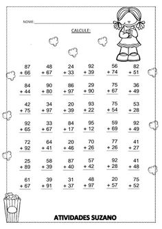 Calculando | Atividades Pedagogica Suzano Math For Kids, Fun Math, Math Activities, 2nd Grade Math Worksheets, First Grade Math, Math Drills, Math Sheets, Math Addition, Math Lessons