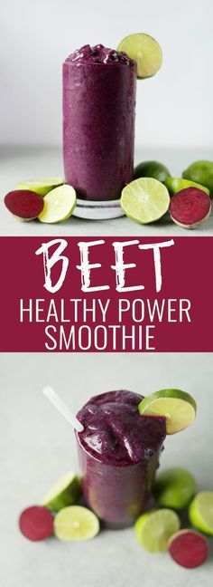 Beet the cold power smoothie filled with beets, blueberries, lime juice and chia seeds. The perfect healthy & refreshing detox smoothie. Nutritionalfoodie.com