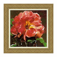 Fiery flower. Intense reds, pinks, and yellows give this single bloom dramatic presence, while subtle white accents suggest the presence of natural light, creating overall depth and texture. Hang this anywhere you want to add a bit of punch. Original artwork by Polish-born painter Marysia, who currently resides in the United States. An Ethan Allen exclusive.