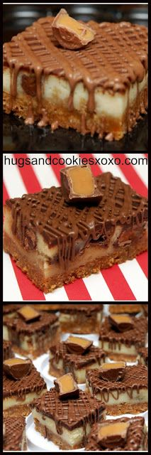 Rolo Cheesecake Bars With a Chocolate Glaze Rolo Cheesecake, Cheesecake Recipes, Dessert Recipes, Fudge Recipes, Cupcakes, Cupcake Cakes, Just Desserts, Delicious Desserts, Yummy Food