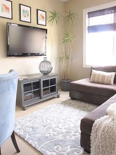 Think about having a corner sofa instead of two sofas. It takes up less space. Also consider mounting your TV on the wall to save valuable floor space.