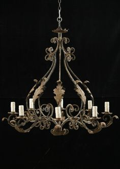 italian iron lighting | Italian Antique Wrought Iron 8-light Chandelier at 1stdibs