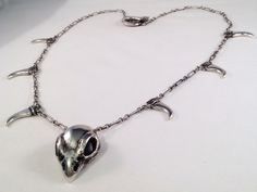 "Sterling Silver Biker Skull Necklace 29"" Black Bird Handmade by PauleMontalDesigns on Etsy"
