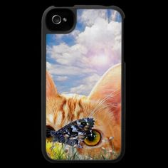 Butterfly Stalker Iphone 4 Case by CaptainScratch - cool cat design!