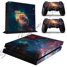 Galaxy Sticker Skin for Playstation 4 PS4 Console + 2 Free PS4 Controller skins ps4_08