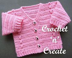 Free crochet pattern for baby glitz cardigan, http://crochetncreate.com/baby-glitz-cardigan-free-crochet-pattern/ #crochetncreate #crochet #freecrochetpatterns