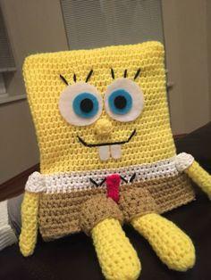 Spongebob, crochet Spongebob, Crocheting, Crochet Hats, Teddy Bear, Toys, Animals, Crochet, Knitting Hats, Activity Toys