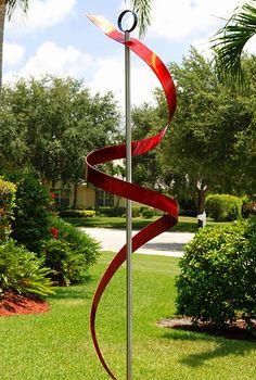 contemporary red modern art metal abstract garden sculpture ribbon dancer garden by jon allen
