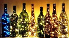 Recycled wine botlles transformed into lanterns
