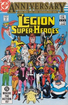 Legion of Super-Heroes #300 - Comic Book Cover, anniversary issue, artist jam, group photo, Proty, team shot,