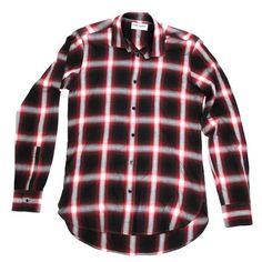 SAINT LAURENT SHIRT - 36 / 14 - EXTRA SMALL - RED & BLACK PLAID BUTTON UP - XS