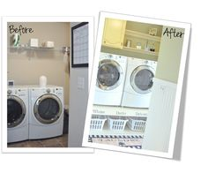 Laundry Room Reveal!  love the washing machine riser and the faux finish of the cabinets. Awesome job.