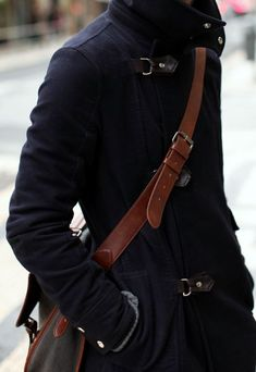 http://chicerman.com  billy-george:  I like the brown leather against the black coat.  #streetstyleformen
