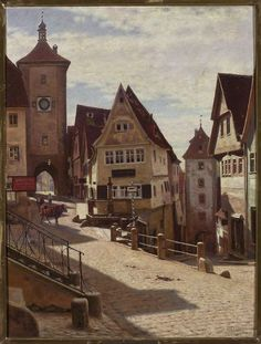 Aleksander Gierymski - Corner of Plönlein in Rothenburg, oil on canvas, 80 x 61 cm, National Museum in Warsaw . Nocturne, Call Art, Classic Paintings, A4 Poster, Vintage Artwork, Urban Landscape, Warsaw, National Museum, Painting Inspiration