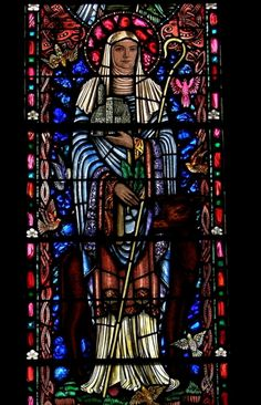 St. Brigid stained glass window by Irish artist Harry Clarke.  St. Brigid's Catholic Church (now closed) San Francisco, California