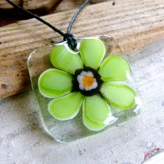 Groovy flower fused glass pendant  adjustable by ArtoftheMoment