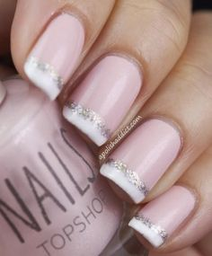 Today we wanted to do a post on bridal nails. We did a post earlier on nail art (if you haven't seen it, check it out here). We love when bridal nails and nail art are combined to create tota… Pink Wedding Nails, Pink Nails, Glitter Nails, Silver Glitter, Wedding Manicure, Orange Glitter, Wedding Makeup, Polish Wedding, Glitter Wedding
