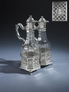 A George II oil and vinegar cruet, by Paul de Lamerie, London 1723