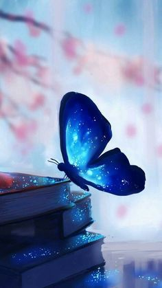 blue butterfly perching on hips of books Blue Wallpaper Iphone, Spring Wallpaper, Blue Wallpapers, Cute Wallpaper Backgrounds, Pretty Wallpapers, Cellphone Wallpaper, Colorful Wallpaper, Galaxy Wallpaper, Aesthetic Iphone Wallpaper