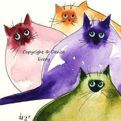 Abstract Siamese Kitties Bright Colors Whimsical Abstract Cat Lover Art. $5.99, via Etsy.