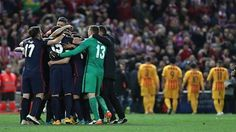 Atletico rejoice while, in the distance Pique, Suarez, Messi and Neymar trudge off. A brace from Antoine Griezmann puts Atletico in the Champions League semi-finals 3-2 on aggregate. Barcelona had nothing to show despite 71% possession and 591 completed passes (cf 118 for Atleti). 14.04.16
