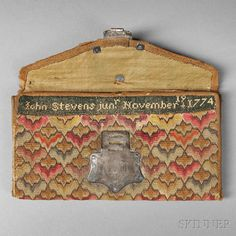 John Stevens Jr. Woolen Needlework Pocketbook, New Jersey, 1774
