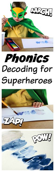 Learning Outcomes Decoding for superheroes is a fun phonics activity. Children to not only practice phonics but also to use their knowledge of - 292 Fun Phonics Activities, Phonics Games, Phonics Reading, Jolly Phonics, Preschool Learning, Writing Activities, Superhero Writing, Superhero Classroom, Classroom Themes