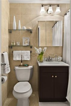 Very Small And Simple Bathroom But I Like It For The Boy  Hand Towel Rack  Over Toilet And Simple Shelves.